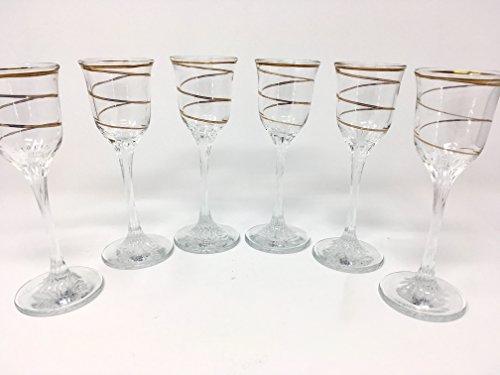- CRYSTAL GLASS SHOT GLASSES 2oz./60ml. SET OF 6 CORDIAL VODKA LIQUEUR WHISKEY GLASSES GOLD PLATED STRIPE VINTAGE DESIGN CLASSIC STEM GOBLETS