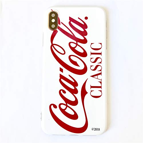 Soft TPU Red Cocacola Can Case for Apple iPhone XR iPhoneX 6.1 White Classic Coca Cola Shape Summer Smooth Ultra Slim Fit Girls Vivid Protective Cool Hot Latest Fun Creative Unique Men Guys Boys Girls