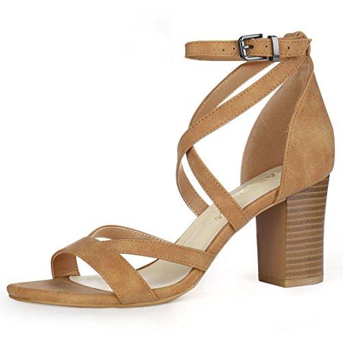 Allegra K Women's Crisscross Ankle Strap Chunky Heel Brown Sandals - 8 M US