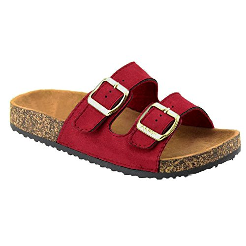 Women's Casual Buckle Straps Flip Flop Footbed Sandals (Red Faux Suede)