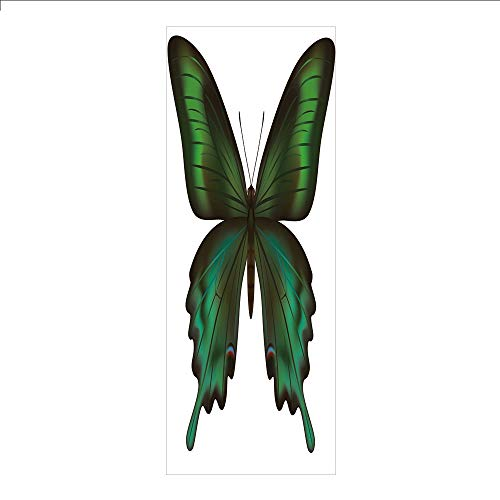 (3D Decorative Film Privacy Window Film No Glue,Swallowtail Butterfly,Realistic Exotic Wildlife Creature in Green Tones Decorative,Olive Green Jade Green Black,for Home&Office )
