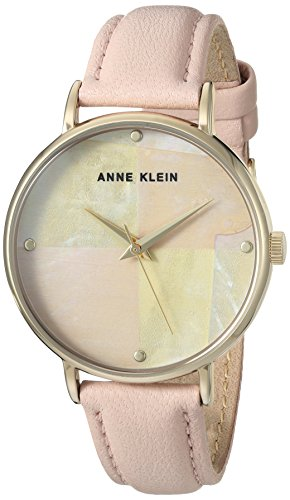 Anne Klein Women's AK/2790PMPK Gold-Tone and Light Pink Leather Strap Watch