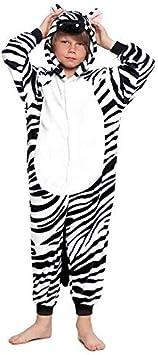 Pijamas Enteros de Animales Niñas y Niños Unisex【Tallas Infantiles 3 a 12 años】 Disfraz Cebra Mono Enterizo Carnaval Fiestas【Talla 10-12 años】
