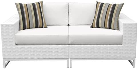 TK Classics MIAMI-02a-WHITE Elegant Miami 2 Piece Outdoor Wicker Patio Furniture Set of 2