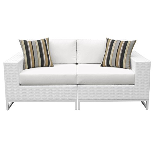 TK Classics MIAMI-02a Elegant Miami 2 Piece Outdoor Wicker Patio Furniture (Set of 2), Sail White (Patio Furniture Miami Clearance)