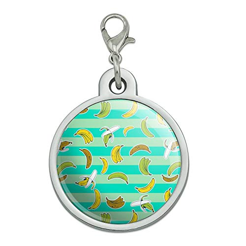 (GRAPHICS & MORE Ripe Bananas Pattern Chrome Plated Metal Pet Dog Cat ID Tag - Large)