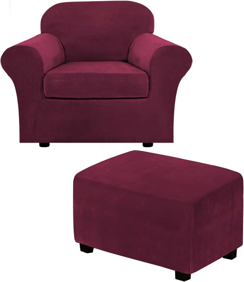 2 Piece Chair Cover Chair Slipcover Bundles X-Large Size Velvet Plush Ottoman Slipcovers(X-Large, Burgundy)
