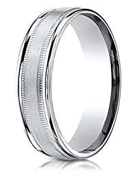 Benchmark® 6mm Comfort-fit Satin-finished With Milgrain Round Edge Carved Design Band