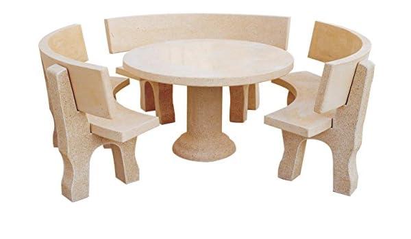 Conjunto Mesa Comedor Jardin DE Piedra Artificial + 3 Bancos con Respaldo. MERLINALBERO: Amazon.es: Hogar