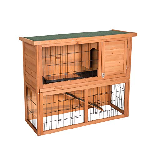 Peach Tree Wooden Rabbit Hutch Bunny Cage Small Animal House Hen Poultry Cage 3 Doors