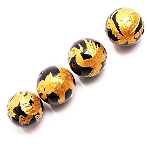 Black Agate Carved Bracelet (GEM-inside Natural 12mm Black Agate Beads Carved Golden Dragon Tortoise White Tiger Phoenix Unisex Dragon King Pattern Buddha Mala Loose Beads For Jewelry Making 4Pcs (GM15679))