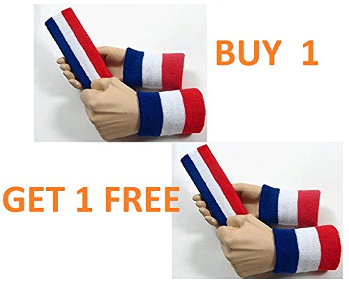 SockTower Large Set Blue White Red Headband Wristband Sports Athletic Terry Cotton Cloth Sweatband Red White Blue (1)