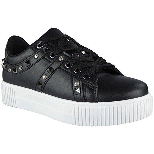 de tachuelas deporte Look Zapatillas deporte up de Ladies de con 3 Zapatillas 8 Black Running Lace Comfy Shoe para Size mujer plataforma Loud p0qw8d7q