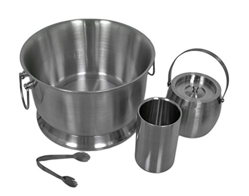 Stainless Steel Barware Tool Sets 4 Pc. Brushed Stainless Steel Beverage Bar Drink Station Set 15.5 X 9.5 X 15.5 Inches (Stainless Steel Refreshment Center)