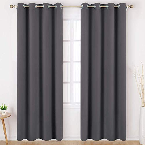 HOMEIDEAS Grey/Gray Blackout Curtains 84 Inches Long Set of 2 Panels Room Darkening Curtains, Thermal Insulated Grommet Window Curtains for Kids Bedroom & Living Room, W52 X L84 Inches (Blackout Curtains Grommet Grey)