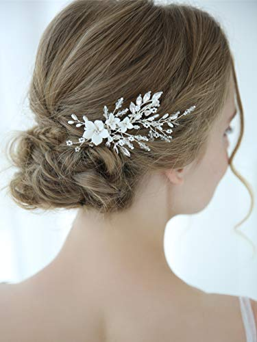 Vintage Silver Leaf - Aegenacess Wedding Hair Comb Silver Clips for Brides and Bridesmaids - White Flowers Side with Rhinestones Crystal Leaf Decorative Vintage Bridal Accessories Headpieces for Women and Girls