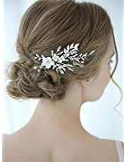 Aegenacess Wedding Hair Comb Silver Clips for Brides and Bridesmaids - White Flowers Side with Rhinestones Crystal Leaf Decorative Vintage Bridal Accessories Headpieces for Women and Girls