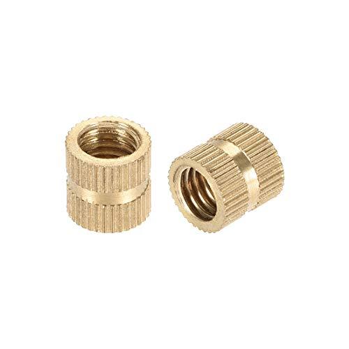 uxcell Knurled Insert Nuts, M8 x 10mm(L) x 10mm(OD) Female Thread Brass Embedment Assortment Kit, 5 Pcs