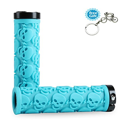 Blue Skull Grips - WESTGIRL Bicycle Handlebar Grips Anti-Slip Rubber Skull,Double Lock-on Grips End Holding Bikes Handle Bar for Mountain Biking Road Cycling