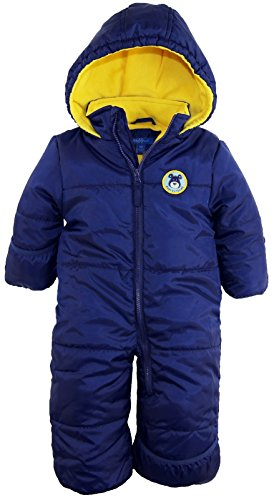 iXtreme Baby Boys Infant Cute Teddy Bear One Piece Puffer Winter Snowsuit, Navy, 24 Months - One Piece Insulated Ski Suit
