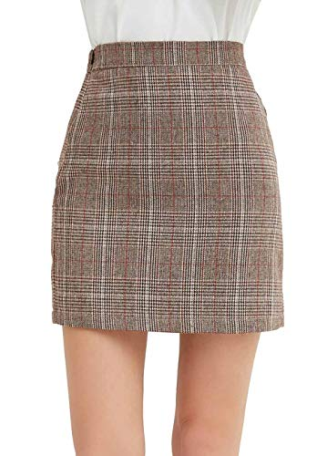 GUANYY Women's Casual Plaid Skirt Bodycon Pencil Mini Skirt(Dark Brown,Medium)