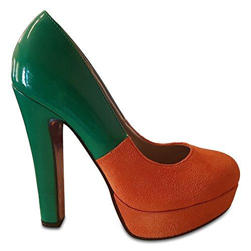 Kapri's Collection Suede & Patent Two Colour Contrast Platform Stiletto Emerald & Orange mDnJUC9Bq