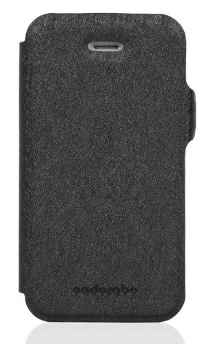 Cadorabo - Funda Book Style en Diseño FINO para Apple iPhone 4 / 4S / 4G - Etui Case Cover Carcasa Caja Protección con Tarjetero y Función de Soporte en FUCSIA NEGRO