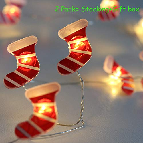 V Smart Life Christmas Decorations Lights String Battery Powered Festive String Lights Timer 2 Pack Boxes and Christmas Stocking for Teen Girls Thanksgiving Xmas Decor Christmas -