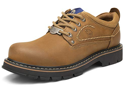 CAMEL CROWN Men's Work Shoes Casual Leather Low-Cut Work Boots Comfortable Slip Resistant Construction Shoes for Travel Walking Business