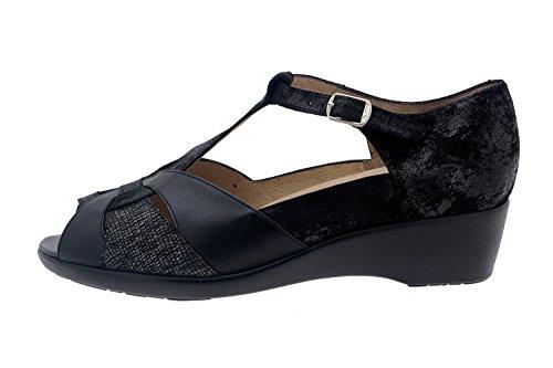 Calzado mujer confort de piel Piesanto 8165 zapato puntera descubierta plantilla extraíble cómodo ancho Negro