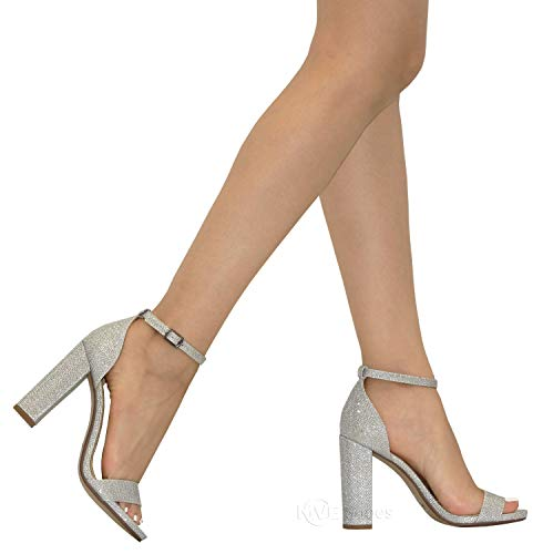 Heeled Silver Shoes Ankle s Fashion Women's MVE Strap Chunky Sandals RwFYBg
