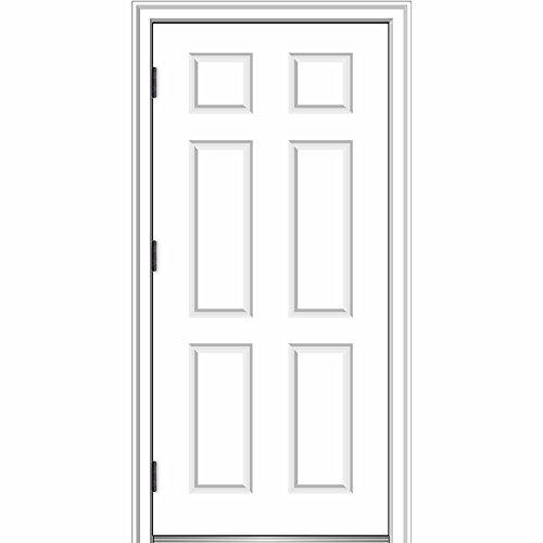 National Door Company ZZ364679R Fiberglass Smooth, Primed, Right Hand Outswing, Prehung Front Door, 6-Panel, 32'' x 80