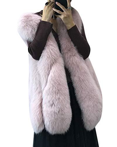 Pelliccia Maniche Cappotto Giacca Senza Artificiale Elegante Kasen Donna Lanuginoso Pink Gilet wP8X0nOk