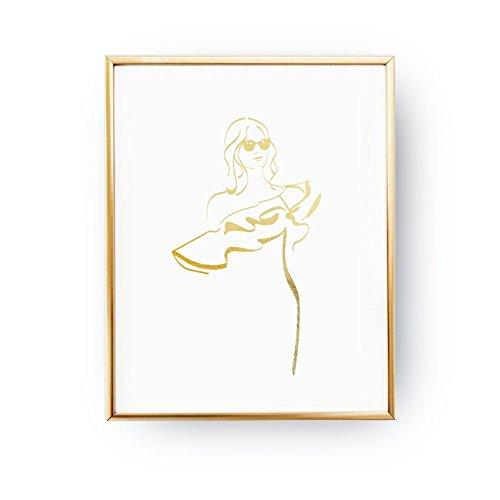 Wave Blouse Print, Glamour Woman, Fashion Poster, Real Gold Foil Print, Wardrobe Art, Illustration Poster, Home Decor, Woman Art, (Glamour Print Blouse)