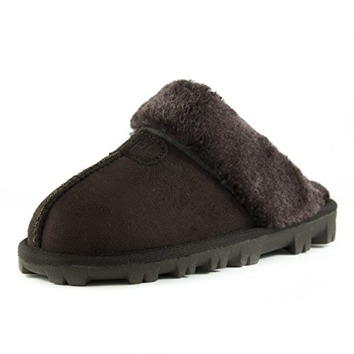 Warm Comfy Faux On Fluffy Womens Suede CLPP'LI Slip Slippers Winter Mules Fur Brown UqF6nXw