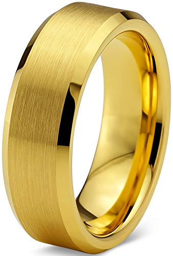 Charming Jewelers Tungsten Wedding Band Ring 6mm Men Women Comfort Fit 18k Yellow Gold Plated Bevel Edge Brushed Polished Size 9