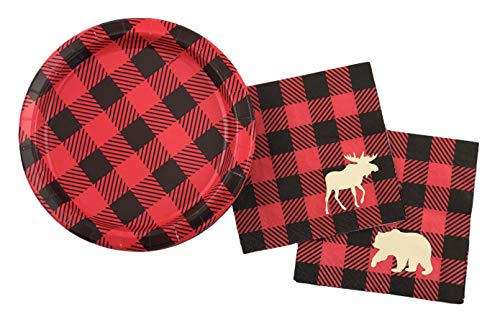 Lumberjack Party Set - 16 Set Plates Napkins Birthday Baby Shower Buffalo Plaid