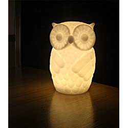 Suzzo Serenity Owl Night Light Lamp With Timer Battery Powered Table Lamp Holiday Gifts Novelty Lighting Kid Room Party Decor Warm White
