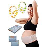 Plus Size Maternity Belt with 2 Baby Bibs by HealthySam - Breathable Belly Band For Pregnancy - Lower Back and Pelvic Support - Comfortable Prenatal Cradle - Postpartum Belly Wrap - One Size - Beige