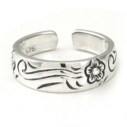 Sterling Silver Hawaiian Plumeria Flower Ocean Wave Adjustable Toe Band (Bracelet Toe Ring)