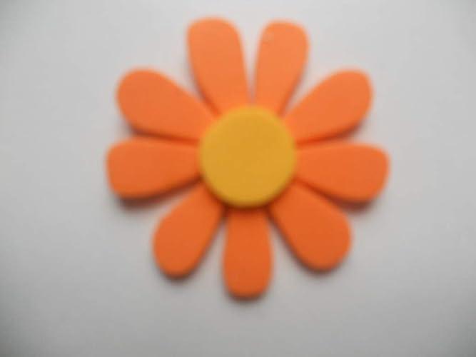 10 Flores de goma eva con 9 pétalos color naranja y estambre ...