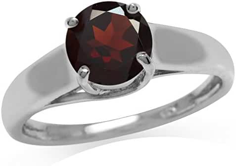 1.59ct. Natural Garnet 925 Sterling Silver Solitaire Ring