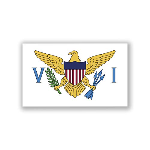 (2-Pack Virgin Islands United States Flag Decal Sticker | 5-Inches by 3-Inches | Premium Quality Vinyl | PD569 )
