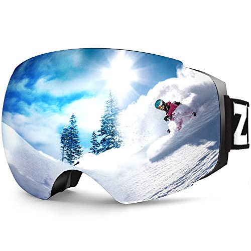 ZIONOR X4 Ski Snowboard Snow Goggles Magnet Dual Layers Lens Spherical Design Anti-Fog UV Protection Anti-Slip Strap for Men Women (VLT 8.59% Black Frame Revo Silver Lens) (Ski Helmet Chrome)