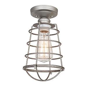 Design House 519686 Ajax 1 Light Semi Flush Mount Ceiling Light, Galvanized Steel Finish