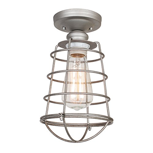 Design House 519686 Ajax 1 Light Semi Flush Mount Ceiling Light, Galvanized Steel Finish (Flush Mount Light Hardware)