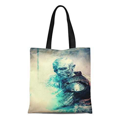 Semtomn Canvas Tote Bag Shoulder Bags White Demon Halloween Frozen Snow Covered Zombie Warrior Women's Handle Shoulder Tote Shopper Handbag -