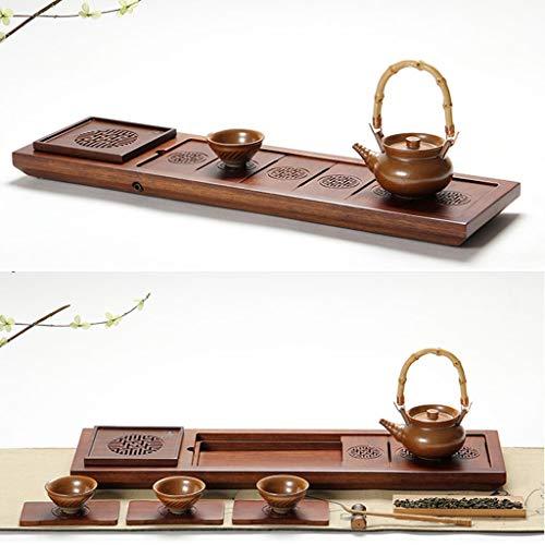 Tea Tray Tea Table Solid Wood Heavy Bamboo Tray Home Living Room Drainage Tea Table Whole Tea Set (Color : 45454.5CM) by GQQ (Image #4)