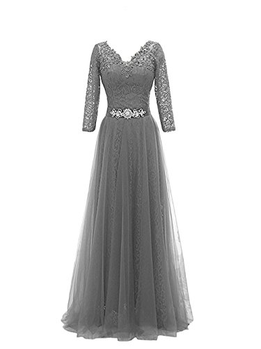 Women's Lace V Neck Floor Length Evening Gowns Long Sleeves With Sash Formal Party Dresses Grey,Size - Fedex Delivery One Day