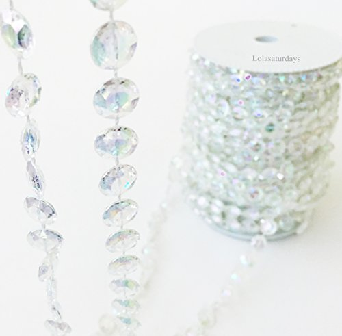Lolasaturdays faux crystal beaded garland roll- 99 ft - String Hanging Decorations